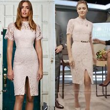 $500 Alexis Ardella Open Back Lace Dress, Blush, XS