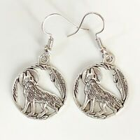 Silver Wolf Howling at Moon Earrings Circle Feather Southwestern Indian Jewelry
