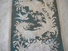 Antique Early 19thc French Floral Bird Cotton Fabric ~ Black Pink Blue ~