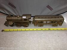 RARE Vintage Nickel Plated Kenton Santa Fe Granague Locomotive & Passenger Train