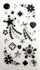 Phone Stickers Black and Clear Stars Sparkly Rhinestone Crystal Bling MINT