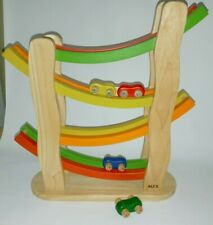 PINTOY PIN TOY Wooden Wood Rainbow Slope Toy Car Ramp - 4 cars Toddler & up