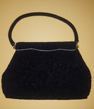 Vintage Black Beaded Evening Handbag. Made In Hong Kong