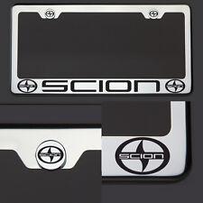New Chrome T304 License Plate Frame Tag Scion Black Letter Laser Etched Engraved
