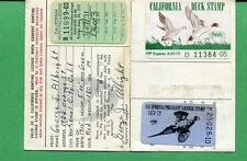 CALIFORNIA DUCK STAMP RW38 + CA1  (used) On 1972 Hunting/ Fishing License  - 01