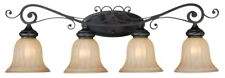 Craftmade LaGrange 4 Light Seville Iron Bath With Amber Etched Glass