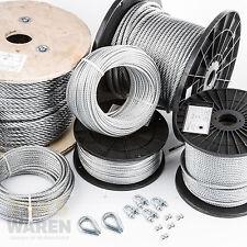 Stahlseil Drahtseil 3mm bis 10mm Drahtseile Draht Seil SET 2 Kauschen 4 Klemmen