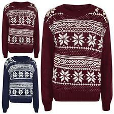 Girls Boys Christmas Jumpers Kids Novelty Snowflake Print Xmas Sweater 5-12 Year