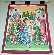 Jesus Blessing Children Tapestry Wall Hanging w/o Rod