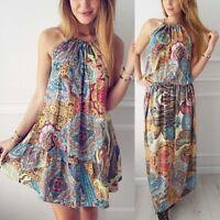 Women Maxi Summer BOHO Floral Beach Long Dress Lady Evening Party Sundress 8-14