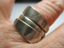 STERLING SILVER 925 ESTATE VINTAGE SOLID WRAP BYPASS TWISTED BAND RING SIZE 8.5