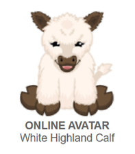Webkinz White Highland Calf *Code Only*