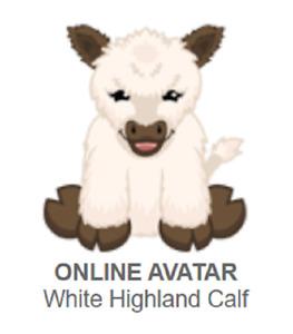 Webkinz Classic White Highland Calf *Code Only*