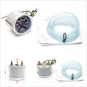 "DC12V 2"" 52mm Diameter Smoke Lens Car SUV LED Vacuum Gauge 30-0 IN.HG Meter Kit"