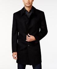 $321 KENNETH COLE NEW YORK MENS BLACK WOOL SLIM OVER PEA COAT WINTER JACKET 42L