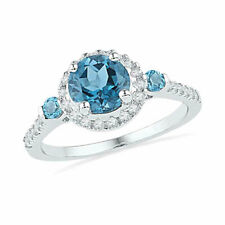 10k White Gold Womens Round Lab-Created Blue Topaz Solitaire Diamond Ring 1/5