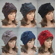 Flower waves trimmed Womens Wool Beanie Cap Dress Crochet Hat A125