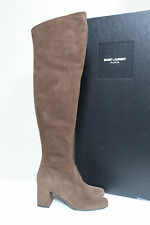 3e884a8dd48 New sz 6.5   37 Saint Laurent Brown Suede Over the Knee Boot Block Heel  Shoes