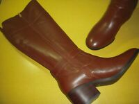 Marc Fisher Riley-WC Leather Wide Calf Riding Boot Women's 9 M Cognac Brown