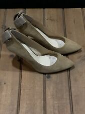 New Enzo Angiolini Suede Pointed Toe Bow Back High Heels Pumps Tan size 8.5