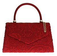 Lace Satin Top Handle Clutch Bag Handbag Rose Gold Prom Wedding Designer Womens