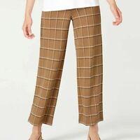 J.Jill Tan Plaid Ponte Knit Full Leg Cropped Elastic Waist Stretch Pants Women S