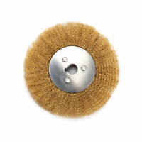 "6"" Flat Brass Brush Crimped Copper Wire Wheel for Bench Grinder Polishing Metal"