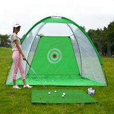 Foldable Golf Hitting Cage Practice Net With Training Aid + Driver Iron New m