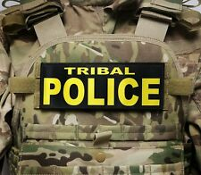3x8 TRIBAL POLICE Gold Black RAID Morale Plate Carrier Patch SWAT Hook Backed