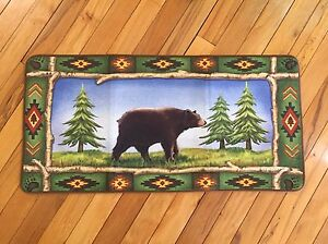 Northwoods Woodland Lodge Cabin Bear Accent Rug Pine Evergreen Forest Rug
