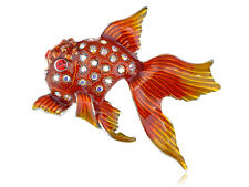 fish Pin Brooch Fashion Cute Jewelry Red Orange Gloss Paint Clear Crystal Pretty