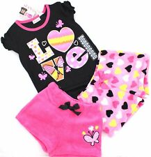 ST EVE Girls 3 Pc PAJAMAS Set Top Fleece Shorts Bottoms PINK BLACK PJs | 6 Yrs