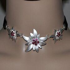 EDELWEISS Kette Halskette Trachten Schmuck Kropfband PINK ROSA schwarz Collier