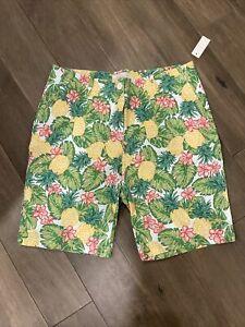 Talbots Petites Pineapple Hawaiian Bermuda Length Shorts Size 10p Cotton Spandex