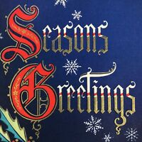 Vintage Mid Century Christmas Greeting Card Seasons Greetings Spell Out Blue Red