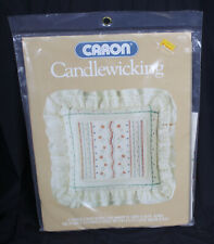 Vintage Caron Candlewicking Pillow Kit Embroidery Muslin 1984 Hearts Flowers New
