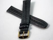 Mens Hirsch Watch Band Vintage Water Resistant Hirsh 18mm Black Leather NOS