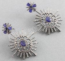 Victorian 925 Silver Dangler Earring 4.85cts Rose Cut Diamond Sapphire Antique