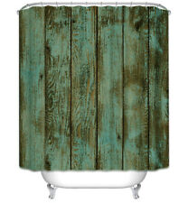Rustic Teal/Brown Wood Boards Planks Fabric Shower Curtain 70x70 Primitive Barn