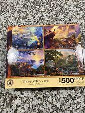 Disney Park Thomas Kinkade 4x 500 puzzles Tinker Bell Lion King Pinocchio Jungle