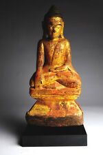 Antiker Buddha Burma 50 cm Gold Holz antique alt Thailand Yoga B60