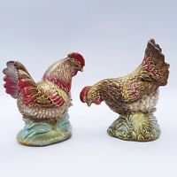"Decorative Glazed Ceramic Feeding Pair of Rooster and Hen 5""L 5""H 2.5""W Set Of 2"