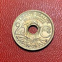 #3830 - RARE -  25 centimes 1939 Lindauer SPL/FDC sortie de rouleau - FACTURE
