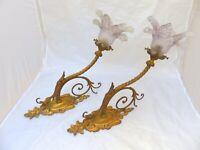 Ancienne Paire Appliques Bronze Laiton doré Tulipe RARE 1900/ Sconces Chandelier