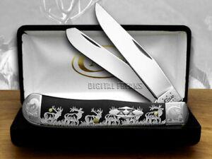 Case xx Trapper Knife Scrolled Walking Elk Black Delrin 1/500 Pocket