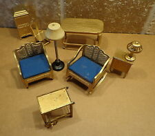 Vintage 1920s Lot 9 TOOTSIETOY Doll House Gold LIVING ROOM Blue Furniture