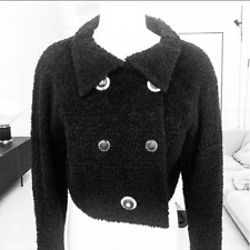 GIANNI VERSACE COUTURE cropped black wool boucle jacket Italian size 40