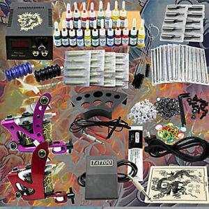 Complet Tattoo Kit de Tatouage 2 Machine Gun Tatouer Power Supply 20 Ink DHL
