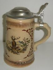 Stag / Deer  German Lidded Beer Stein (6-1/2 Inches Tall)