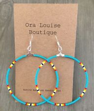 """New listing Native American Handcrafted Turquoise Hoop Beaded Earrings 2.5"""" Long"""
